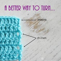 You may remember this post from a while ago. In it, I show 3 ways to work turns for a dc (US terms) when working in rows that helps reduce the gap rather than working a chain 3. The 3 ideas work for me--my favorite being the third--made by stacking two sc's on top of each other. Let me show you a 4th method...