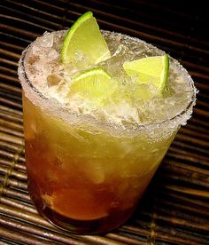 """Matalan Oax"" 1 oz mezcal  1 oz passionfruit juice  1/4 oz grenadine  1/4 oz orgeat  sprinkle of fresh lime  Garnish with a sugar rim"