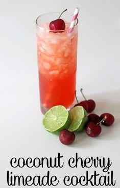 coconut cherry limeade cocktail recipe via www.theshabbycreekcottage.com