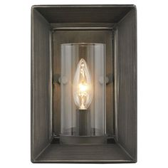 Steel wall sconce with a beveled back plate and gunmetal bronze finish.   Product: Wall sconceConstruction Material: