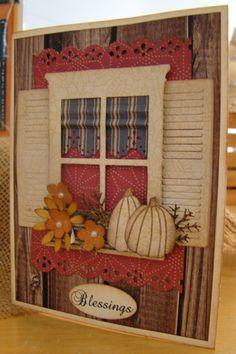 Fall window card cream pumpkin, autumnthanksgiv card, fall window, madison window cards, fall cards handmade, roman shades, autumn window, homemade cards, window boxes