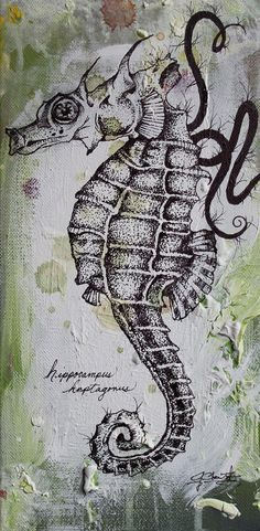 Seahorse drawing - ink. Pretty!