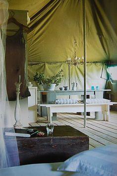 Living Salvage Tent decor