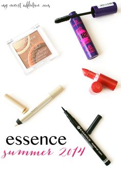 Essence Summer 2014 mascara, bronzing highlighter, lipstick, eyeshadow pencil, eyeliner pen!  So many beautiful products! Best drugstore makeup collection. - www.mynewestaddiction.com