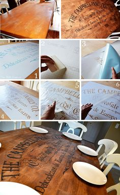 DIY - Table Stenciling Full Step-by-Step Tutorial. Beautiful! And my hubby's last name is campbell too! :D