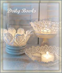 Here is what you need:    ~a doily  ~Stiffy fabric stiffener or liquid starch  ~a bowl to form the shape  ~wax paper    That's it!    Then follow these steps:    ~Soak the doily completely with Stiffy or starch  ~Gently squeeze out any excess  ~Cover the bowl with wax paper  ~Shape the doily around the bowl    If the doily is full, you can gently crimp the edges  for a ruffled effect.    Then just let dry and remove!!