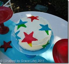 Red, white & blue 4th of July star cake. :)