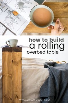 How to build a rolling overbed table for your bedroom #overbedtable #bedtable #rollingtable #diyrollingtable #table #diybedtable