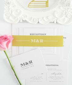 yellow weddings, invit stationeri, wedding invitations, antiqu gold, event stationeri, invit packag
