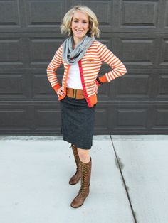 Red striped cardigan, gray scarf, blue jean skirt, brown boots