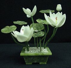 White Jade Lotus Bonsai Flowers Bouquet Asian Art Home Decor