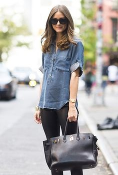 summer shirts, celebrity casual style, outfit, denim shirts, placket shirt, olivia palermo, long bob, celebrities fashion casual, leather bags