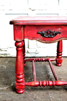 Barn red rustic fall decor sidetable heavily distressed hand painted using chalk paint autumn decor accent piece shaby chic