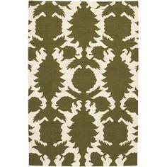 Thomas Paul Flat-weave Dhurrie Green/Cream Flock Rug  #projectnursery #franklinandben #nursery