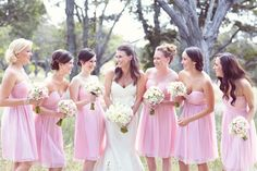 "Donna Morgan dresses in ""blush""  Photography By http://halforangephotography.com via Style Me Pretty"
