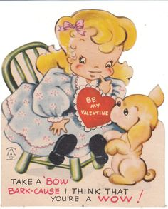 Valentine Card Girl and Dog