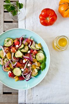 Tomato Zucchini and Feta Salad