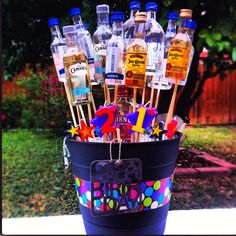 Made this booze bouquet for friend's birthday.