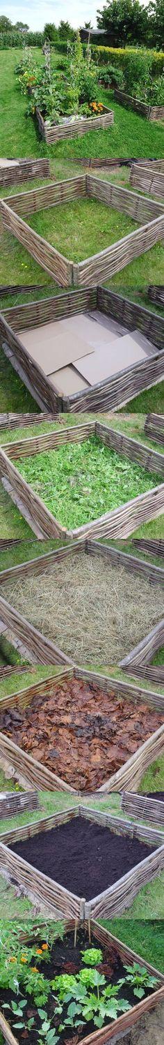 Building raised bed garden in a snap. #Farming
