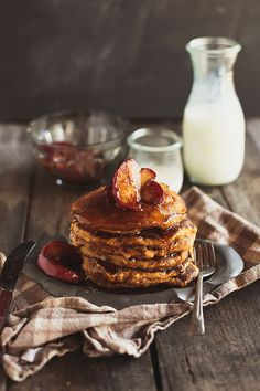 Whole Grain Pumpkin Pancakes with Apple Maple Compote. #food #pancakes #breakfast #autumn