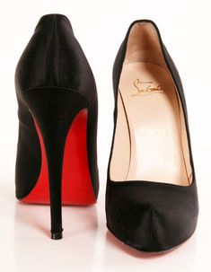 "Christian Louboutin ""Rolando"" Pumps in Black Satin with a Hidden-Platform"