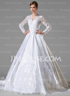 A-Line/Princess V-neck Cathedral Train Satin Wedding Dresses With Ruffle Lace (002004745)