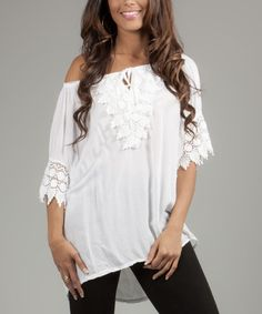 Look at this La Belle Hélène White Embroidered Marion Peasant Top on #zulily today!