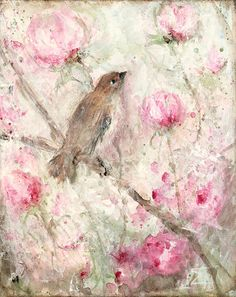 original acrylic floral wren bird painting by fadedwest