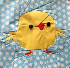 Free Easter Chick PDF Pattern and How to Free Motion Quilt Easter Eggs - with Leah Day - sew-whats-new.com