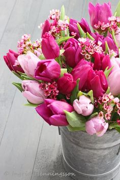 FLOWERS by ingrid & titti - Tulips. © Ingrid Henningsson/Of Spring and Summer. Pink tulips and waxflowers.
