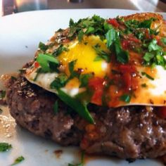 Burger + fried egg + cilantro + hot sauce #whole9 #paleo