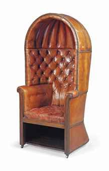 An english mahogany and leather upholstered porter s chair late 19th