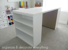 Craft table DIY: two cheap bookshelves and a painted piece of plywood on top
