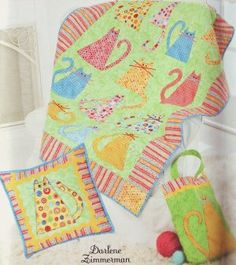 SIMPLICITY 2575 KITTY CATS LAP QUILT PILLOW TOTE SEWING PATTERN
