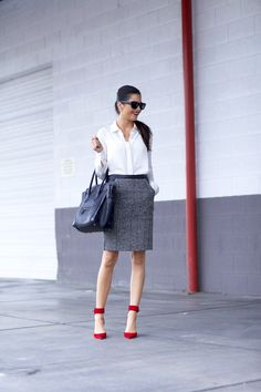Work wear with pop of red via Pink Peonies