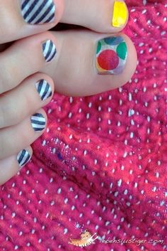 Give yourself a washi tape pedicure.   56 Adorable Ways To Decorate With Washi Tape