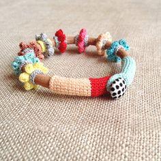Leather & crochet cotton flowers friendship bracelet by kjoo, on etsy