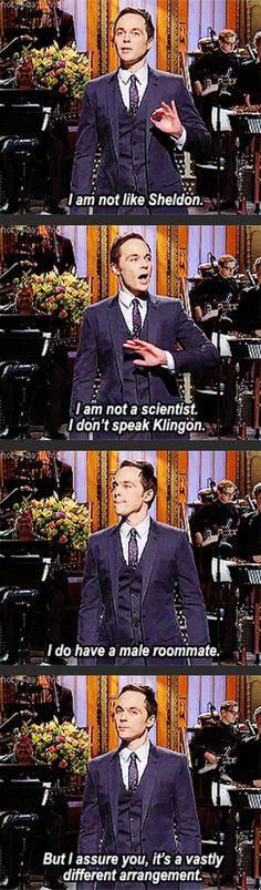 """I am not like Sheldon…."" <3"