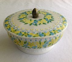 Daher Tin Floral Lidded & Footed