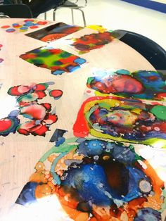 Art @ Massac: Abstract Art with alcohol ink, rubbing alcohol, transparency sheet