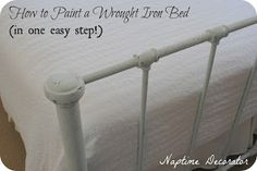 Naptime Decorator: How to Paint a Wrought Iron Bed Frame (in one easy step!) Decor Ideas, Bed Frames, Painting Furniture, Furniture Redo, Painting Beds, Naptime Decor, Lodges Furnishings Finish, Beds Frames, Iron Beds