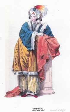 """An exotic """"Sultana"""" costume, complete with harem pants, from the April 1829 edition of Ackermann's magazine"""