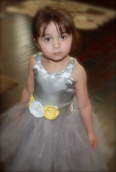 Grey and Yellow Flower Girl Dress