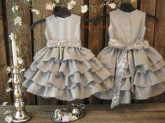 Silver flower girl dress. Grey dress. Girls ruffle dress. Toddler special occasion, bling. Silver winter wedding girls wedding dress on Etsy, $61.32
