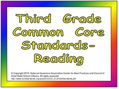 This product will help you display the Common Core standards in your third grade classroom!!     This file features the Common Core Standards for READING. The standards for each strand of Reading are on a different color background. Each standard is illustrated to help students understand the meaning of that standard. $2.50