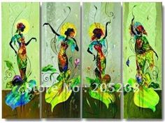 Green Canvas Painting Wall Art Beautiful Women from Home & Garden on Aliexpress.com
