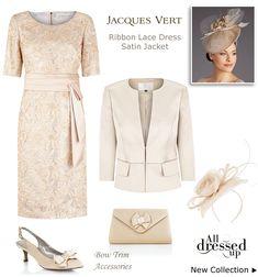 Gold Lace Shift Dress Matching Satin Occasion Jacket