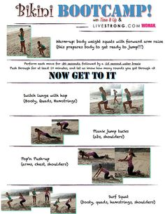 Bikini Bootcamp Printable routine from Tone It Up and LIVESTRONG.COM WOMAN.