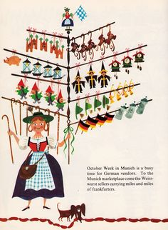 Peddlers and Vendors Around the World - written & illustrated by Richard Erdoes (1967).  Note the little dachshund at the bottom of the illustration!