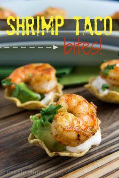 food appetizers, sour cream, bite recip, taco bite, appetizer recipes, summer parties, mini tacos, finger foods, shrimp tacos